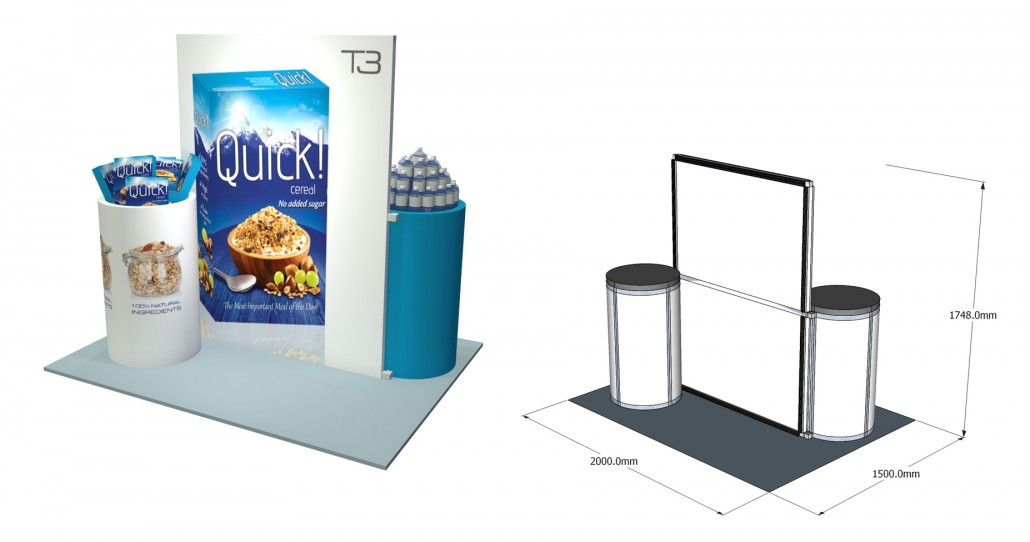 Small Exhibition Stand Sizes : T modular display system